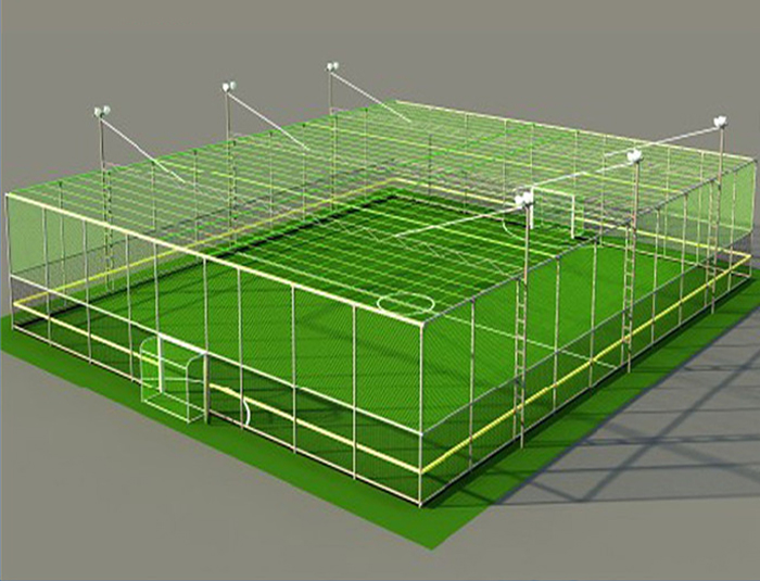 Cage football field fencing system